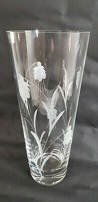 £39.99 • Buy Large Gleneagles Crystal Glass Engraved Fuchsia Pattern Vase 12 In Tall