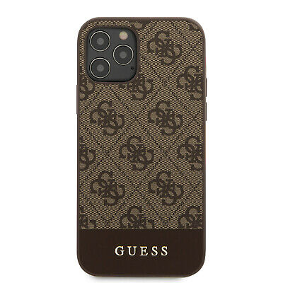 £25.59 • Buy GUESS IPhone 12 / 12 Pro Hülle 4G Stripe Collection Logo Case Cover Braun