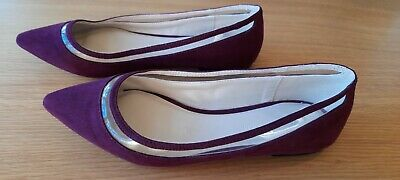 AU12.95 • Buy Forever New Ladies Purple Suede Look Ballet Flat Shoes Size 38 Near New Con