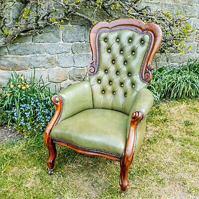 £599 • Buy Victorian Leather Upholstered Mahogany Framed Armchair C1870