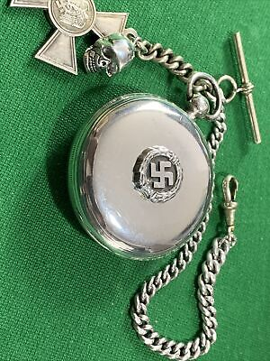 WW2 German Soldiers Solid Silver Pocket Watch FWO With Key And Fobs,silver Chain • 104£