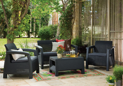 £399 • Buy 4 Piece Keter Rattan Garden Set Furniture Chairs Sofa Table Patio Conservatory