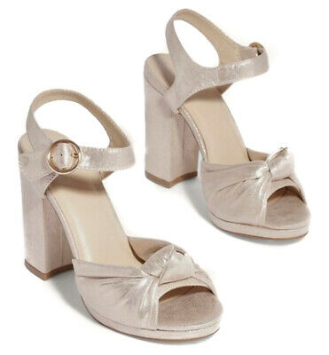 £10.99 • Buy Ex Oasis Gold Block Heeled Sandals Bow Ankle Strap Open Toe Wedding Summer Size