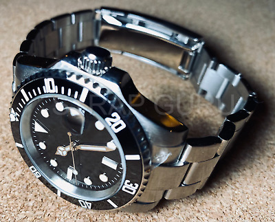 £65 • Buy Auto 40mm Black Submariner Sub Homage With Ceramic Bezel Glide Lock Bracelet