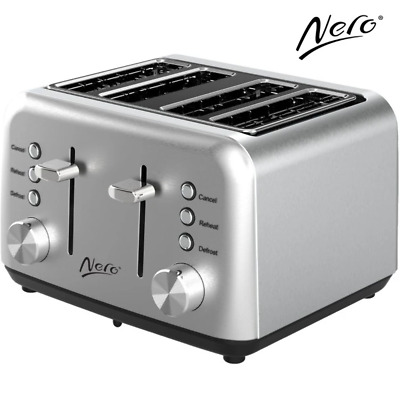 AU109.95 • Buy NEW Nero Classic Stainless Steel Toaster 4 Slice Bread Reheat Defrost Adjustable