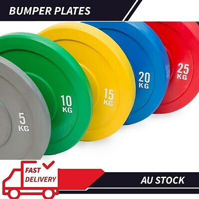 AU65 • Buy NEW Olympic Colour Bumper Weight Plates Home Gym Lifting 5kg To 25kg | IN STOCK
