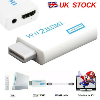 Wii Input To HDMI 1080P HD Audio Output Converter Adapter Cable 3.5mm Jack White • 3.98£