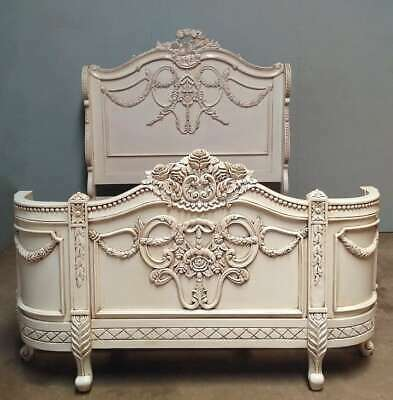 £1495 • Buy Napoleon 6' SuperKing Size Bed Antique White Solid Mahogany Carved French Louis