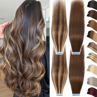 150G+ THICK Tape In Russian Remy Human Hair Extensions Skin Weft Ombre Balayage • 11.97£