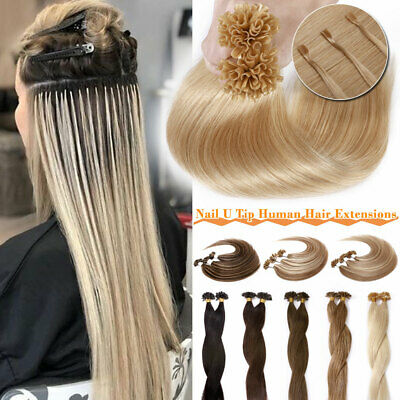 1G/s Russian Remy Human Hair Extensions Pre Bonded U-Tip Nail Long Thick Hair UK • 26.94£