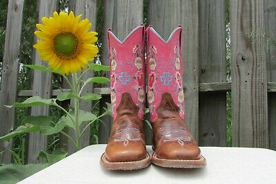 $75 • Buy Macie Bean Honey Bunch Brown & Pink Lizard Print Roses Square Toe Boots Youth 9