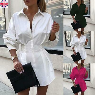 Womens Ladies Casual Long Sleeve Mini Dress OL Work Plain Shirt Blouse Tops Size • 11.59£