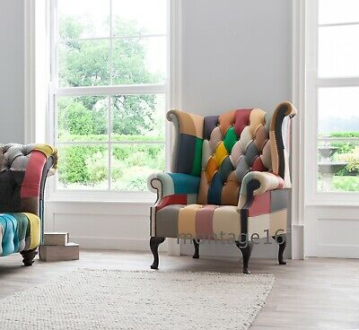 £669 • Buy Boheme Patchwork Pastel Leather Wing Chair Armchair High Back Button Seat
