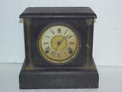 AU32.25 • Buy Antique 8 Day T&S Sessions Small Black Mantle Windup Clock Parts Repair B
