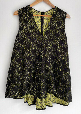 AU79 • Buy SCANLAN & THEODORE Stunning Black Thick Lace Swing Top Blouse Size S/M 10 12