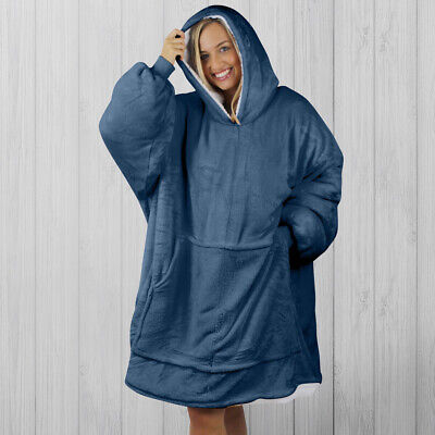 $ CDN56.09 • Buy Hoodie Blanket By Snoogie Warm Double Layer 430gsm   Unisex Adult Size   Navy