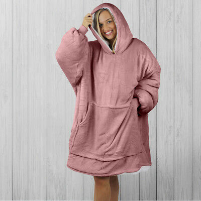 $ CDN56.09 • Buy Hoodie Blanket By Snoogie Warm Double Layer 430gsm   Unisex Adult Size   Pink