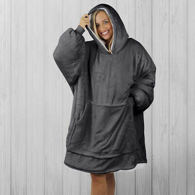 $ CDN56.09 • Buy Hoodie Blanket By Snoogie Warm Double Layer 430gsm, Unisex Adult Size   Charcoal