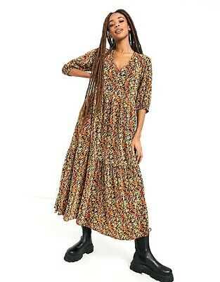 AU35 • Buy BNWT ASOS DESIGN Plisse Maxi Dress In Autumn Tones Size UK16