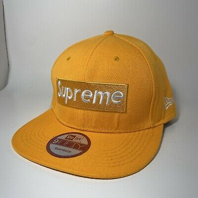 $ CDN84.91 • Buy Supreme New Era 9Fifty Box Logo SnapBack Adult Flat Brim Hat Yellow White NWOT