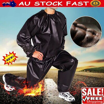 AU18.92 • Buy Heavy Duty Sweat Sauna Suit Gym Fitness Exercise Fat Burn Weight Loss Black  N#T