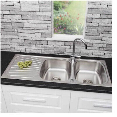 Sauber Stainless Steel 2 Bowl Reversible Double Drainer Kitchen Sink.  RRP £99 • 70£