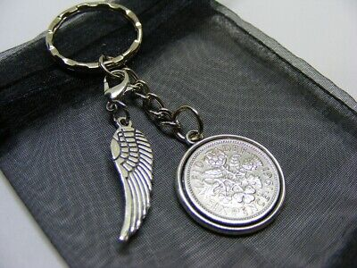 £5.95 • Buy 1961 Lucky Sixpence & Angel Wing Charm Keyring - 60th Birthday Gift - (SK00)