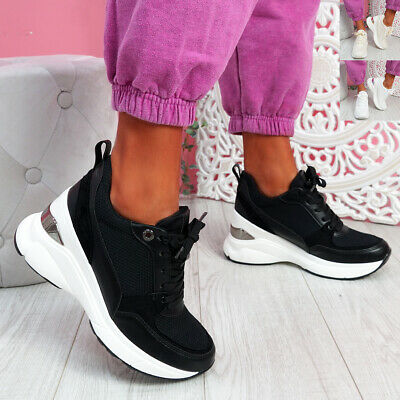 $ CDN32.87 • Buy Womens Ladies Wedge Platform Trainers Lace Up Sneakers Women Shoes Size Uk