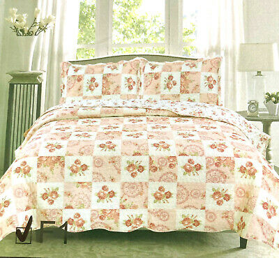 £18.98 • Buy Patchwork Quilted Bedspread Bedding Set Embroidered Throw Cover Double King Size