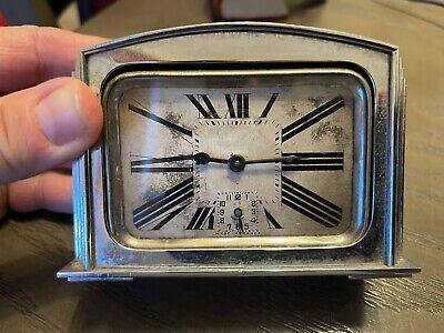 Antique Old Chrome Art Deco French Alarm Clock Cool Vintage Design Made France • 28.27£