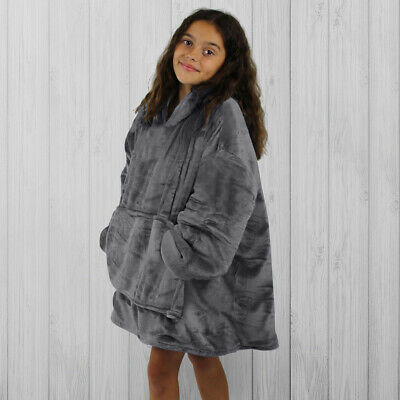 $ CDN51.41 • Buy Hoodie Blanket By Snoogie Warm Double Layer 430gsm, Unisex Kids Size   Charcoal