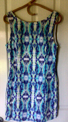 AU12 • Buy Forever DRESS Coloured Zip DeeP V  Back Great Fabric & Print Lined Size 12