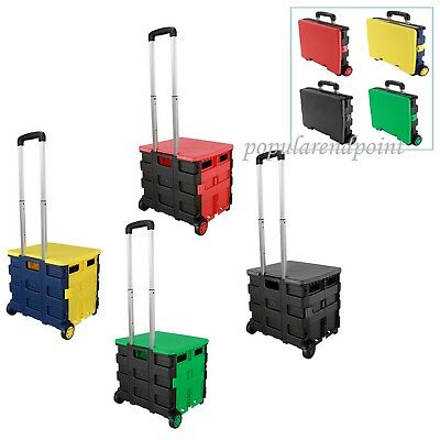 £22.39 • Buy Heavy Duty Large Folding Boot Shopping Cart Trolley Crate 40kg Capacity