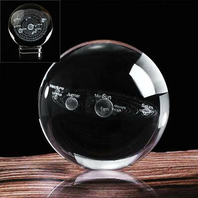 £6.99 • Buy 60mm Clear Glass Engrave Solar System Crystal Ball + LED Crystal Base Gift UK