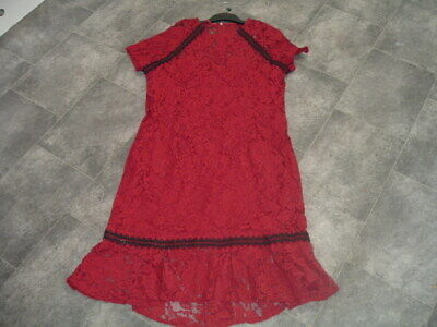 AU8.86 • Buy Size 20 Paperdolls London Long Red Lacy Dress With Black Trim