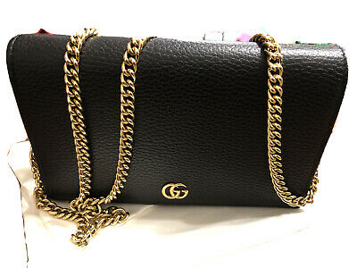 AU800 • Buy Gucci GG Black Leather Wallet Bag Small Clutch Gold Strap - Genuine RRP $1,100
