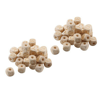 £6.22 • Buy 52 Pieces Wooden Cube Beads Blank Cube Alphabet Letter Beads