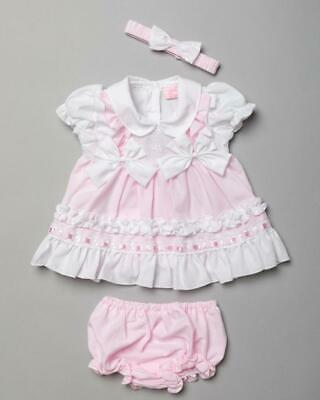 £11.99 • Buy Baby Girls Spanish Style 3 Piece Broderie Anglaise Bow Dress Set 0-9 Months