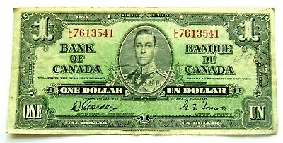 Vintage CANADA Banknote 1937 $1 Dollar Gordon/Towers P#58d Wide Panel See Photos • 6.50£