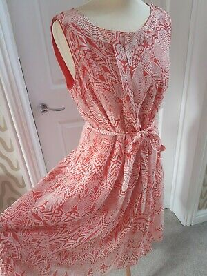 £14.99 • Buy Monsoon Coral And White Summer Sleeveless Abstract Print Floaty Dress Size 14