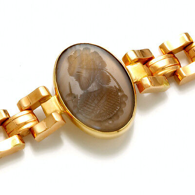 Spectacular 18K Yellow & Rose Gold Intaglio Agate Cameo Bracelet CA1910 • 1,700.77£