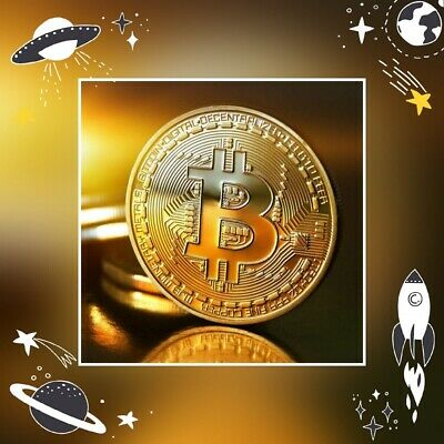 AU7.80 • Buy Gold Plated Bitcoin Collectors Coin Crypto Currency Ethereum Doge Miner Silver