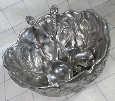 £58 • Buy Large Vintage Pewter Cabbage Leaf Salad Bowl Serving Dish Utensils Fork & Spoon