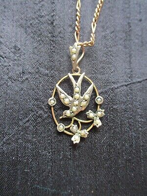 £39 • Buy Edwardian 9ct Gold Pendant And Chain. Dove Design Set With Pearls