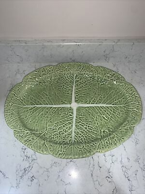 BORDALLO PINHEIRO Portugal Majolica Green Cabbage Large Platter With Stickers • 20£