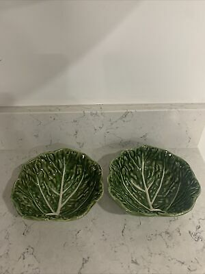 £14.80 • Buy Olfaire Green Cabbage Leaf Pair Of Serving Bowls Majolica