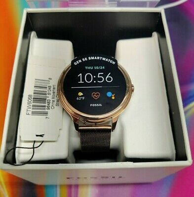 AU90.54 • Buy Womens Smartwatch FOSSIL FTW6068 Stainless Steel Mesh Gold Rose GEN 5E