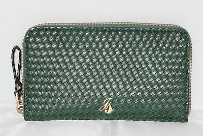 £8 • Buy Jane Shilton Purse Faux Leather Green With Gold Detail And Lattice Design