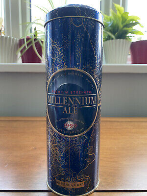 £44 • Buy MANSFIELD BREWERY COMPANY MILLENNIUM ALE In TALL CYLINDER SHAPED TIN BLUE&GOLD