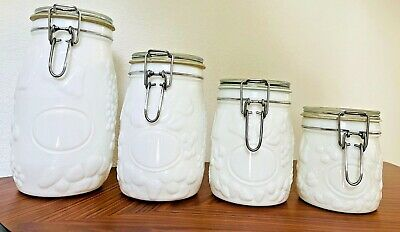 $64 • Buy Vintage Wheaton Embossed Milk Glass Canister Containers Set Of 4 Lot